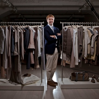 Brunello Cucinelli, chairman and chief executive officer of Brunello Cucinelli SpA, poses for a photograph inside the company's showrooms in New York, U.S., on Wednesday, Sept. 5, 2012. Ermenegildo Zegna SpA acquired 3 percent of Brunello Cucinelli SpA ahead of the cashmere clothier's initial public offering in April. Photographer: Christopher Goodney/Bloomberg via Getty Images